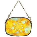 Gold Blue Abstract Blossom Chain Purses (One Side)  Front