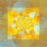 Gold Blue Abstract Blossom Mini Canvas 4  x 4  4  x 4  x 0.875  Stretched Canvas
