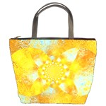Gold Blue Abstract Blossom Bucket Bags Front