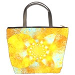 Gold Blue Abstract Blossom Bucket Bags Back