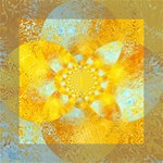 Gold Blue Abstract Blossom Mini Canvas 6  x 6  6  x 6  x 0.875  Stretched Canvas