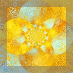 Gold Blue Abstract Blossom Mini Canvas 8  x 8  8  x 8  x 0.875  Stretched Canvas
