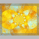 Gold Blue Abstract Blossom Canvas 14  x 11  14  x 11  x 0.875  Stretched Canvas