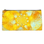 Gold Blue Abstract Blossom Pencil Cases Front