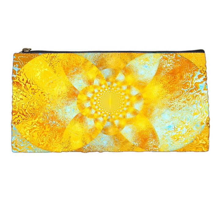 Gold Blue Abstract Blossom Pencil Cases