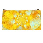 Gold Blue Abstract Blossom Pencil Cases Back