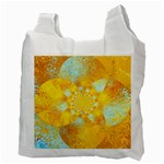 Gold Blue Abstract Blossom Recycle Bag (Two Side)  Back