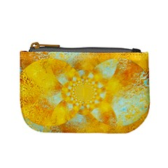 Gold Blue Abstract Blossom Mini Coin Purses