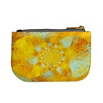 Gold Blue Abstract Blossom Mini Coin Purses Back
