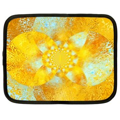 Gold Blue Abstract Blossom Netbook Case (XL)