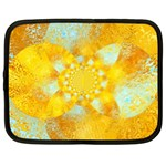 Gold Blue Abstract Blossom Netbook Case (XL)  Front