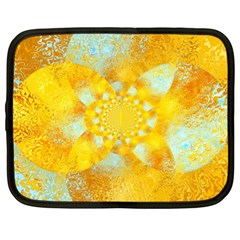 Gold Blue Abstract Blossom Netbook Case (xxl)