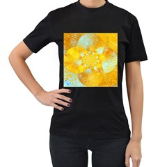 Gold Blue Abstract Blossom Women s T Shirt (black)