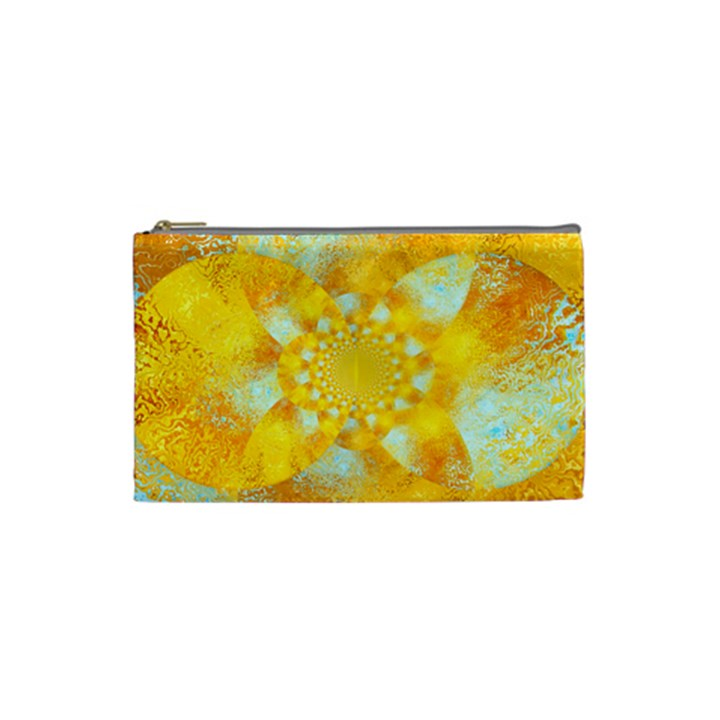 Gold Blue Abstract Blossom Cosmetic Bag (Small)