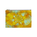 Gold Blue Abstract Blossom Cosmetic Bag (Medium)  Front