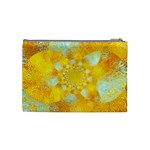 Gold Blue Abstract Blossom Cosmetic Bag (Medium)  Back