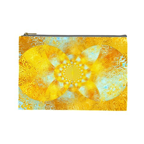 Gold Blue Abstract Blossom Cosmetic Bag (Large)