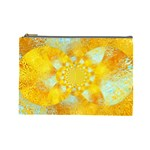 Gold Blue Abstract Blossom Cosmetic Bag (Large)  Front