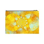 Gold Blue Abstract Blossom Cosmetic Bag (Large)  Back