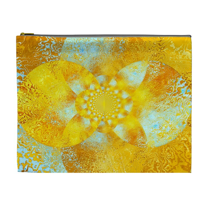 Gold Blue Abstract Blossom Cosmetic Bag (XL)