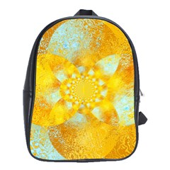 Gold Blue Abstract Blossom School Bags(large)
