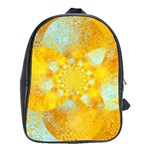 Gold Blue Abstract Blossom School Bags(Large)  Front