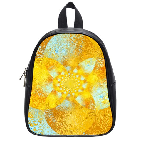 Gold Blue Abstract Blossom School Bags (Small)