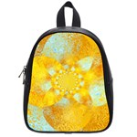 Gold Blue Abstract Blossom School Bags (Small)  Front