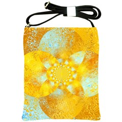 Gold Blue Abstract Blossom Shoulder Sling Bags