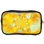 Gold Blue Abstract Blossom Toiletries Bags Front
