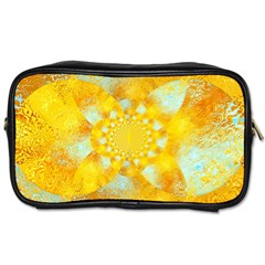 Gold Blue Abstract Blossom Toiletries Bags 2-Side