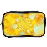 Gold Blue Abstract Blossom Toiletries Bags 2-Side Back