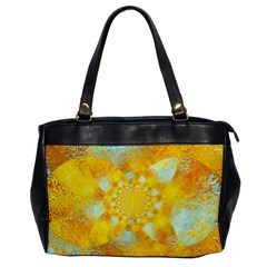 Gold Blue Abstract Blossom Office Handbags