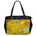 Gold Blue Abstract Blossom Office Handbags Front