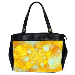 Gold Blue Abstract Blossom Office Handbags (2 Sides)