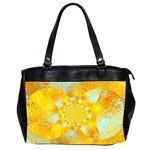 Gold Blue Abstract Blossom Office Handbags (2 Sides)  Front