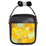 Gold Blue Abstract Blossom Girls Sling Bags Front