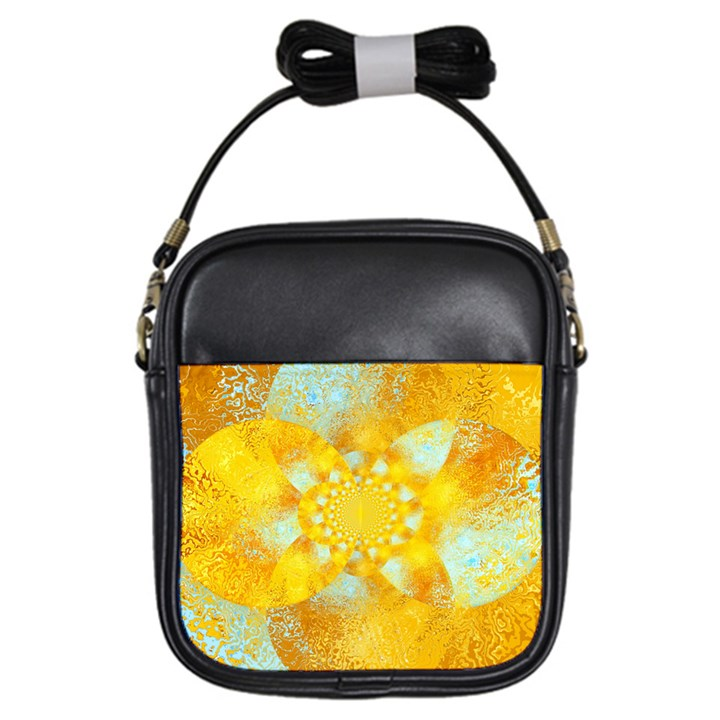 Gold Blue Abstract Blossom Girls Sling Bags