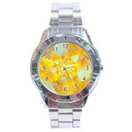 Gold Blue Abstract Blossom Stainless Steel Analogue Watch Front