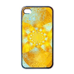 Gold Blue Abstract Blossom Apple iPhone 4 Case (Black)