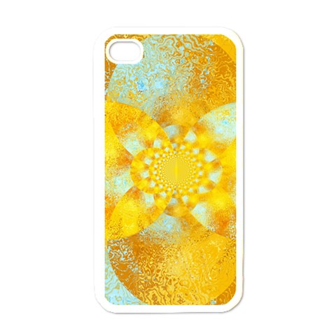 Gold Blue Abstract Blossom Apple iPhone 4 Case (White)