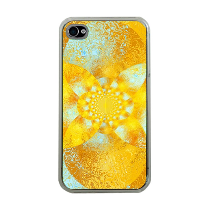 Gold Blue Abstract Blossom Apple iPhone 4 Case (Clear)