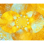 Gold Blue Abstract Blossom Deluxe Canvas 14  x 11  14  x 11  x 1.5  Stretched Canvas