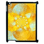 Gold Blue Abstract Blossom Apple iPad 2 Case (Black) Front