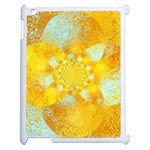 Gold Blue Abstract Blossom Apple iPad 2 Case (White) Front
