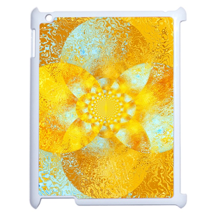Gold Blue Abstract Blossom Apple iPad 2 Case (White)