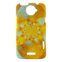 Gold Blue Abstract Blossom HTC One X Hardshell Case