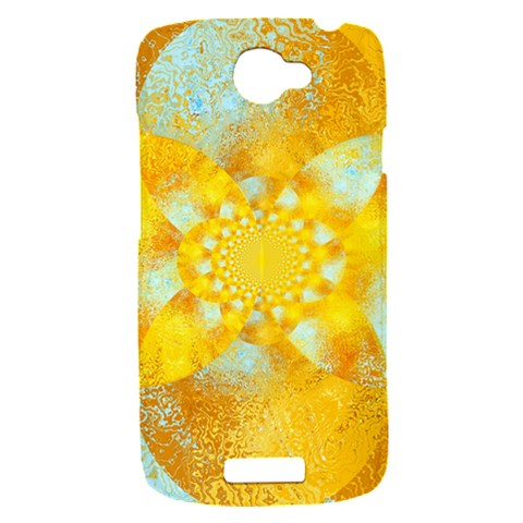 Gold Blue Abstract Blossom HTC One S Hardshell Case