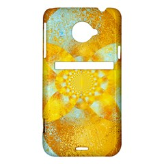 Gold Blue Abstract Blossom HTC Evo 4G LTE Hardshell Case