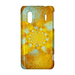 Gold Blue Abstract Blossom HTC Evo Design 4G/ Hero S Hardshell Case